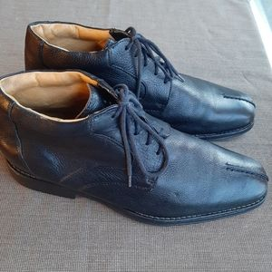 SANDRO MOSCOLON BLACK LEATHER MEN'S DRESS SHOES 10